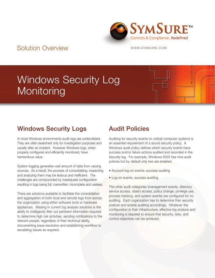 Solution Overview                                                                    WWW.SYMSURE.COM     Windows Security ...