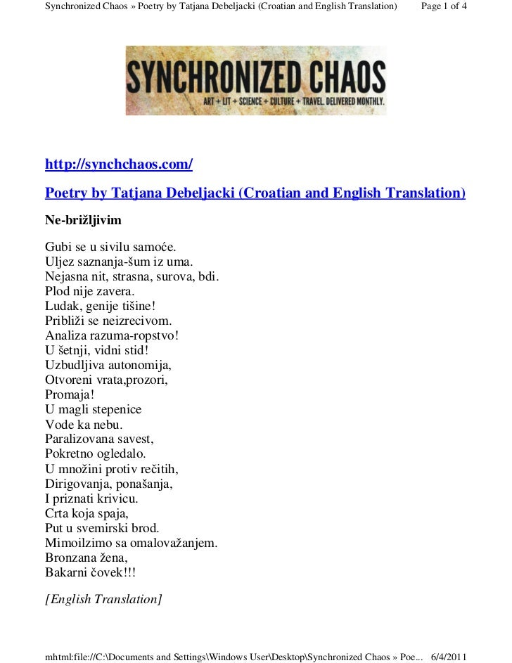 Synchronized Chaos » Poetry by Tatjana Debeljacki (Croatian and English Translation)   Page 1 of 4http://synchchaos.com/Po...