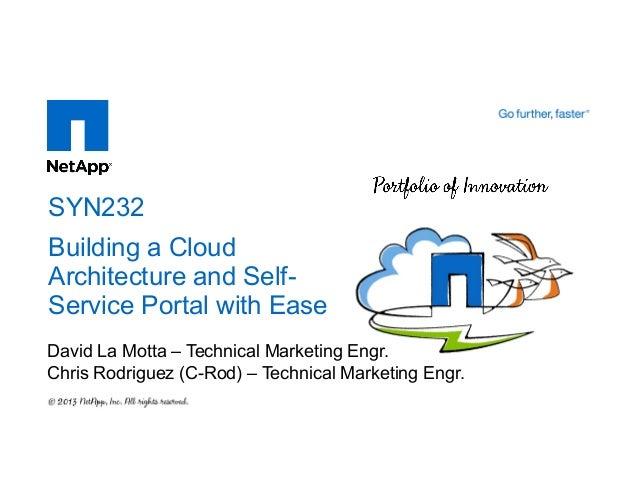 David La Motta – Technical Marketing Engr. Chris Rodriguez (C-Rod) – Technical Marketing Engr. SYN232 Building a Cloud Arc...