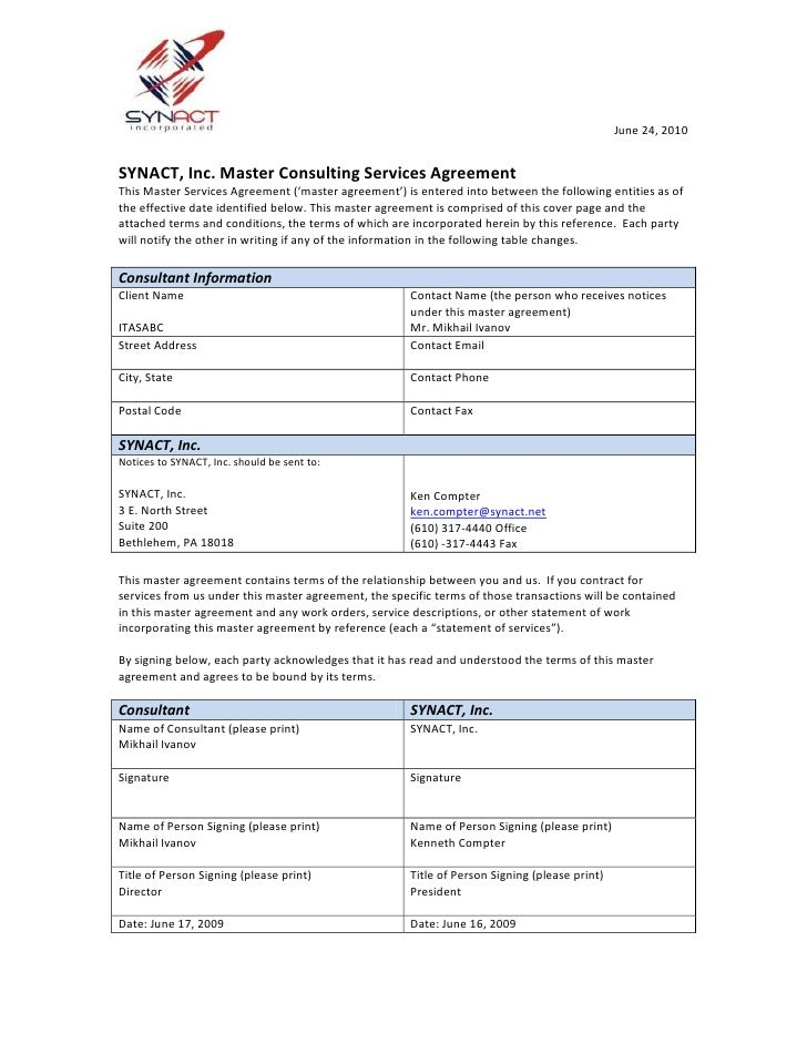 SYNACT, Inc. Master Consulting Services Agreement<br />This Master Services Agreement ('master agreement') is entered into...