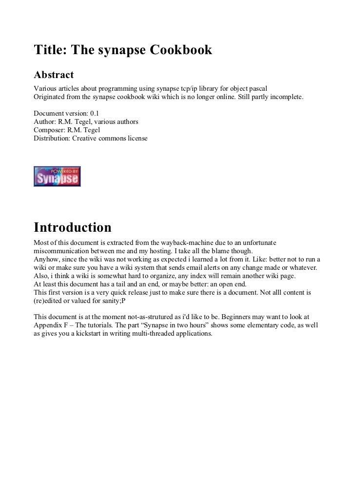 Synapse CookBook 0.1