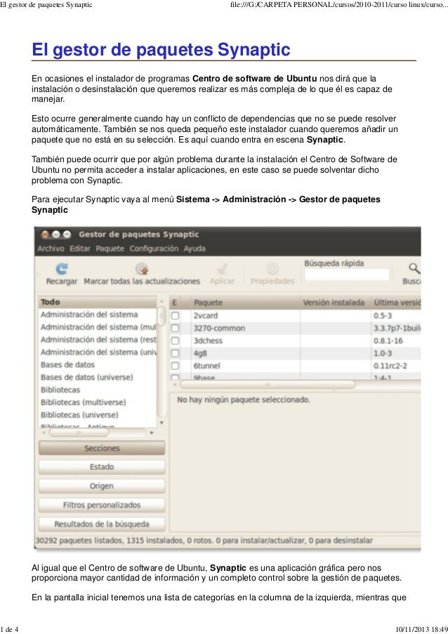 El gestor de paquetes Synaptic  1 de 4  file:///G:/CARPETA PERSONAL/cursos/2010-2011/curso linux/curso...  El gestor de pa...