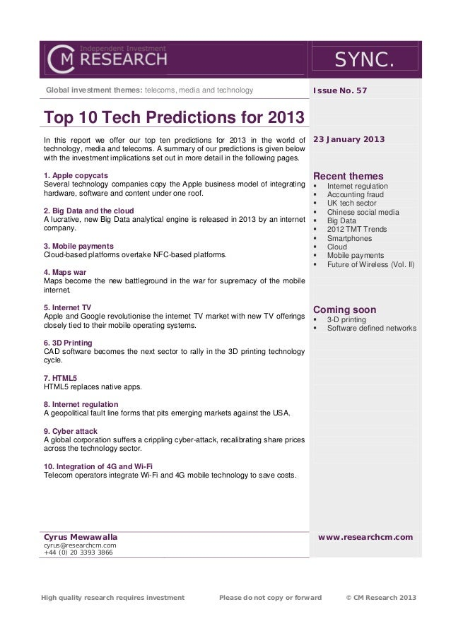 SYNC. Global investment themes: telecoms, media and technology                           Issue No. 57Top 10 Tech Predictio...