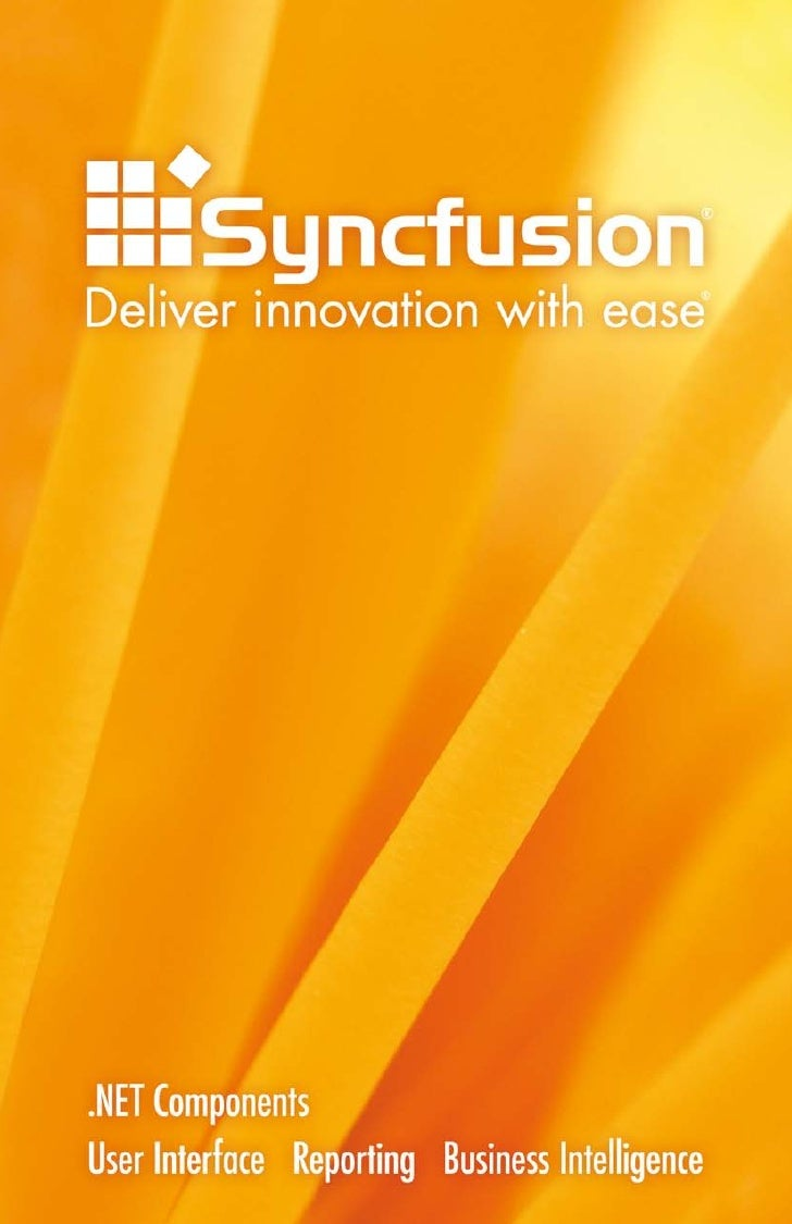 About Syncfusion  Founded by industry experts in 2001, Syncfusion, Inc. provides the broadest range of enterprise-class so...