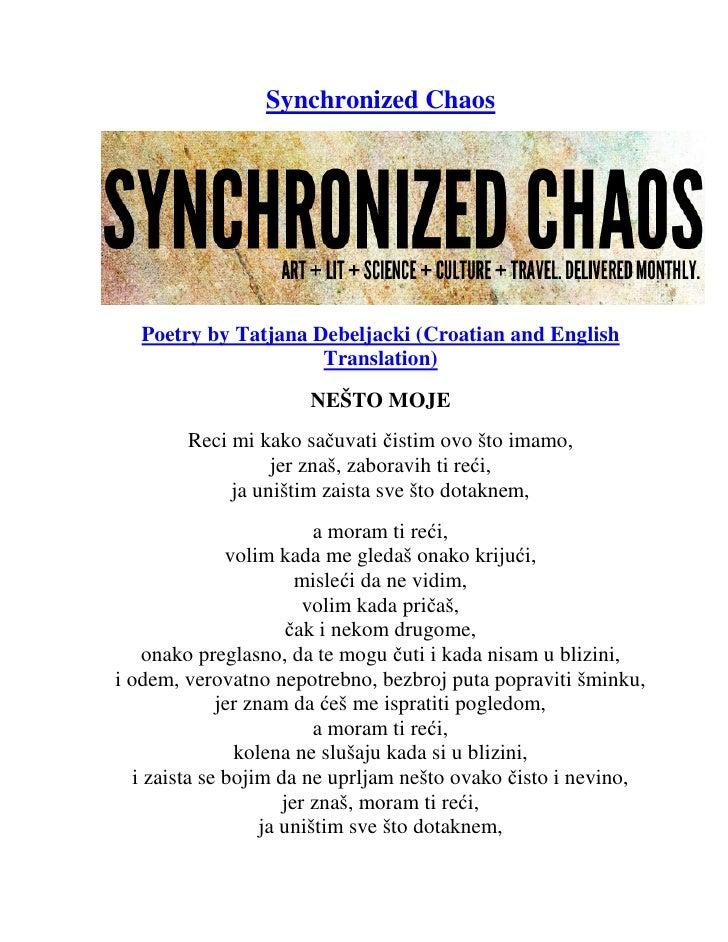 Synchronized Chaos   Poetry by Tatjana Debeljacki (Croatian and English                      Translation)                 ...