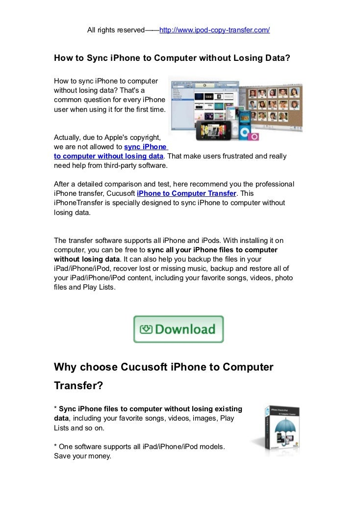 Sync iphone to computer without losing data