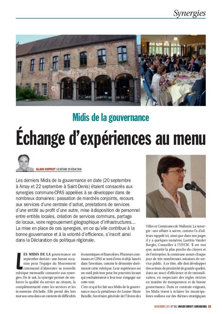 Synergies                                           Midis de la gouvernanceÉchange d'expériences au menu               ALA...