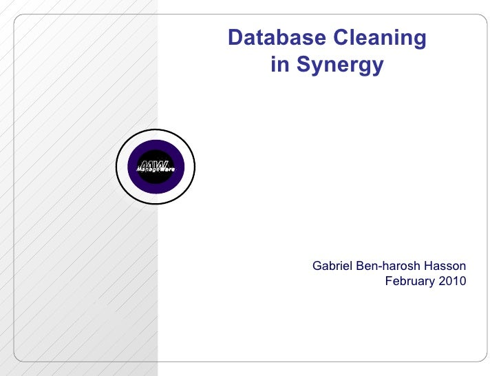 Database Cleaning in Synergy Gabriel Ben-harosh Hasson February 2010