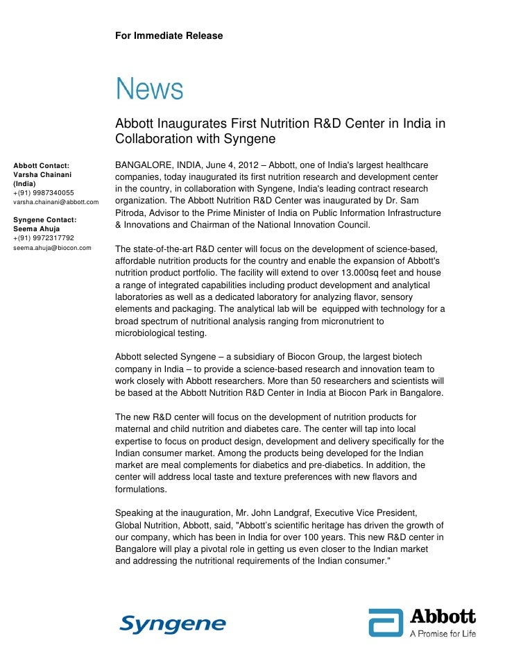 For Immediate Release                             Abbott Inaugurates First Nutrition R&D Center in India in               ...