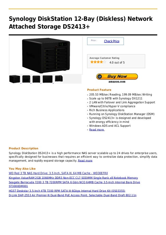 Synology disk station 12 bay (diskless) network attached storage ds2413+
