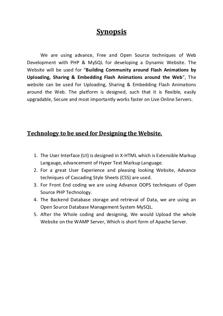 Synopsis        We are using advance, Free and Open Source techniques of Web Development with PHP & MySQL for developing a...