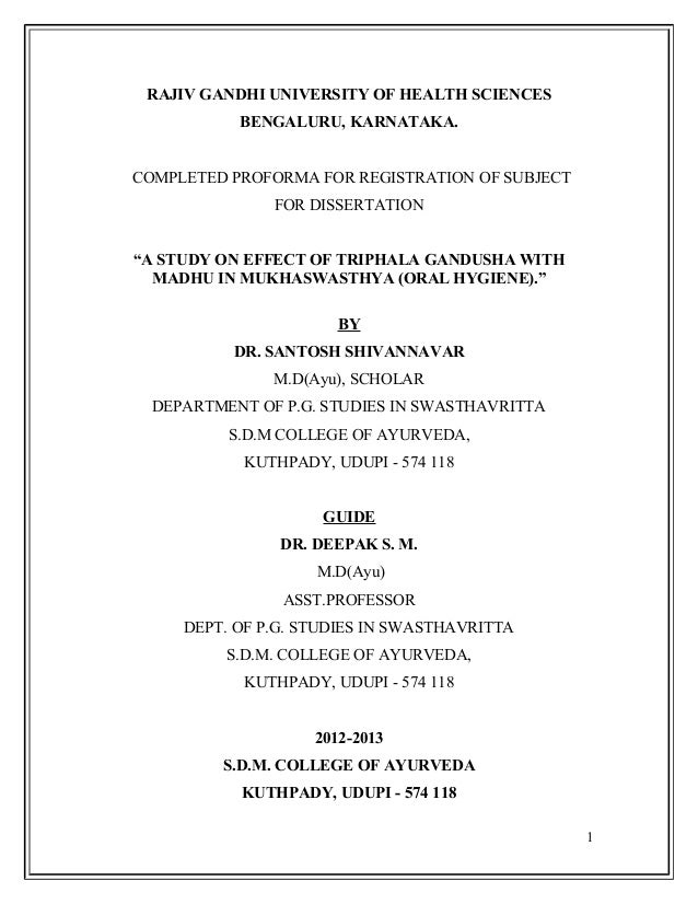 rajiv gandhi university of health sciences library dissertation