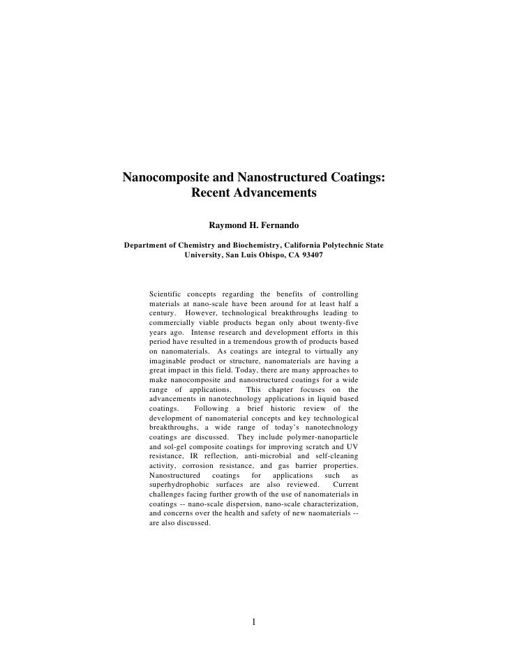 Nanocomposite and Nanostructured Coatings:          Recent Advancements                         Raymond H. Fernando  Depar...