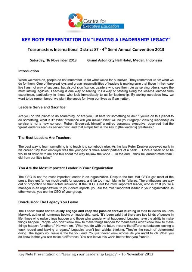 "KEY NOTE PRESENTATION ON ""LEAVING A LEADERSHIP LEGACY"" ToastmastersInternationalDistrict87‐4thSemiAnnualConvention..."