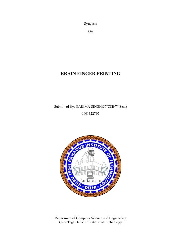 Synopsis Seminar Brain Finger Printing