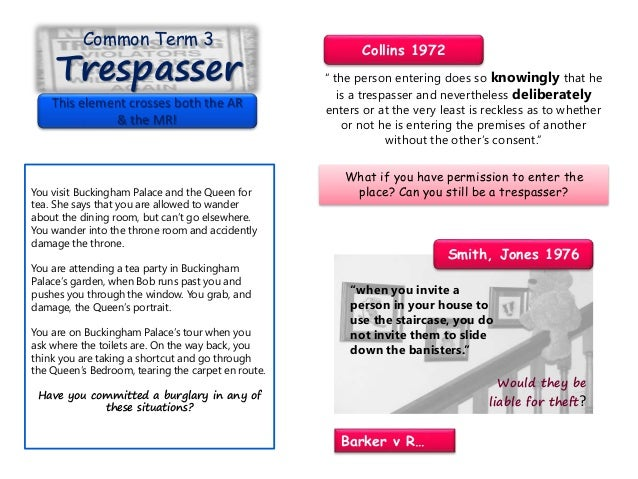 Common Term 3 Trespasser This element crosses both the AR & the MR! You visit Buckingham Palace and the Queen for tea. She...
