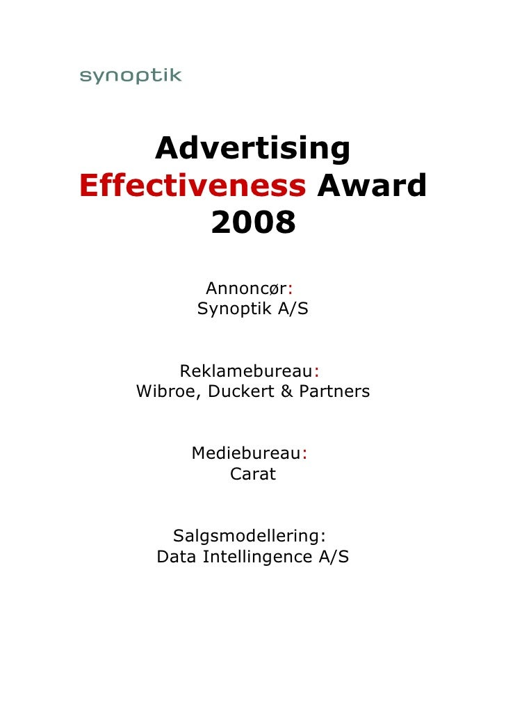 Winner Advertising Effectiveness Award 2008: Synoptik