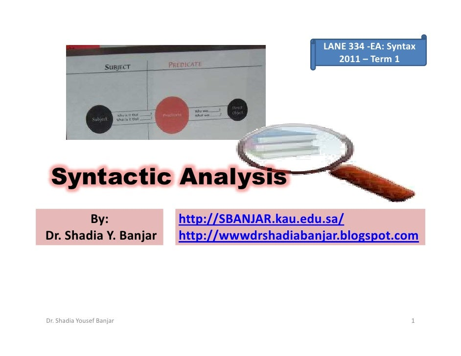 LANE 334 -EA: Syntax                                                     2011 – Term 1      Syntactic Analysis         By:...