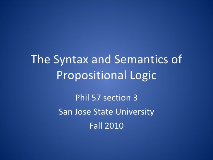 Syntax and semantics of propositional logic