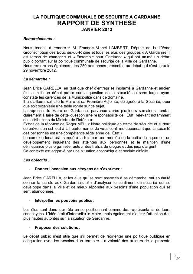 LA POLITIQUE COMMUNALE DE SECURITE A GARDANNE                    RAPPORT DE SYNTHESE                                   JAN...