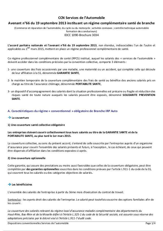 Dispositions conventionnelles Services de l'automobile Page 1/4 CCN Services de l'Automobile Avenant n°66 du 19 septembre ...