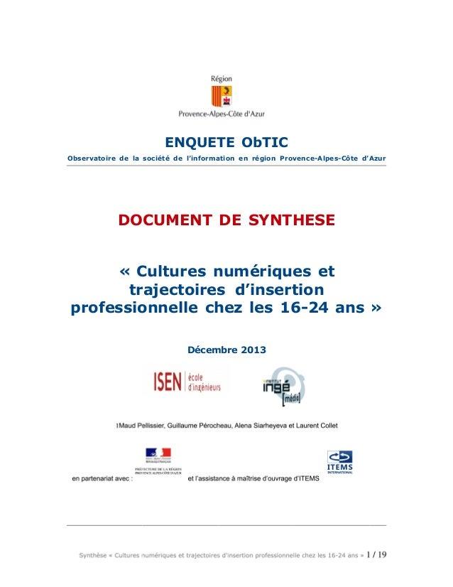 Cultures numériques et trajectoires d'insertion des 16-25 ans (Synthèse)