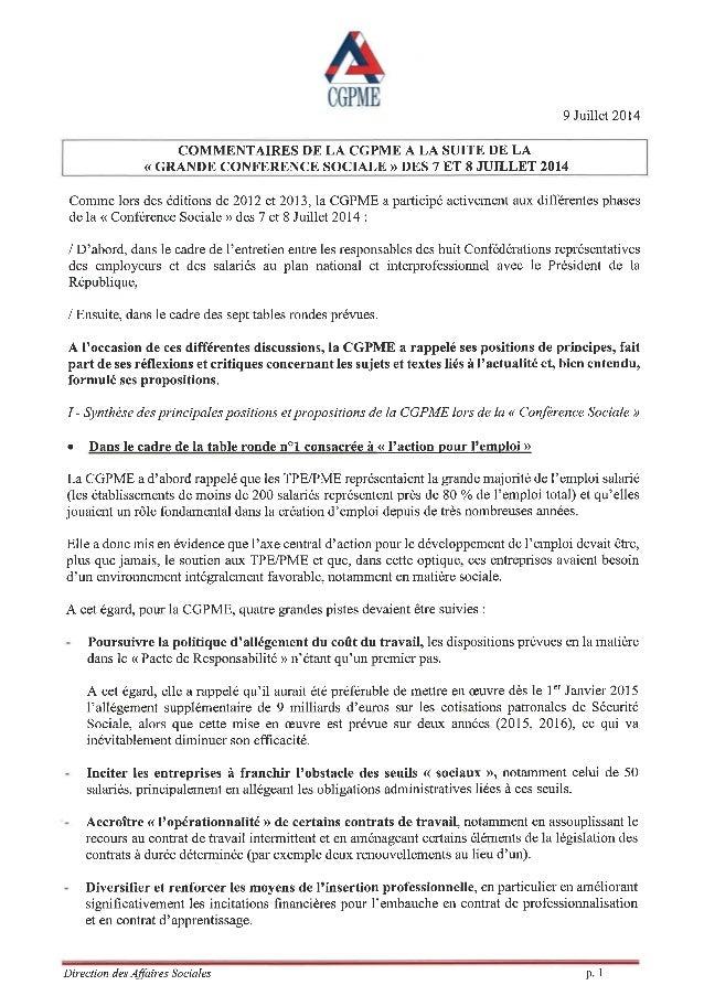 Synthèse commentaires de la CGPME suite à la Conférence Sociale _11-07-14