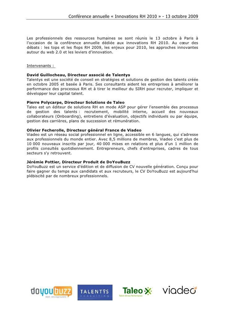 """Conférence """"Innovations RH 2010"""" (Synthèse)"""