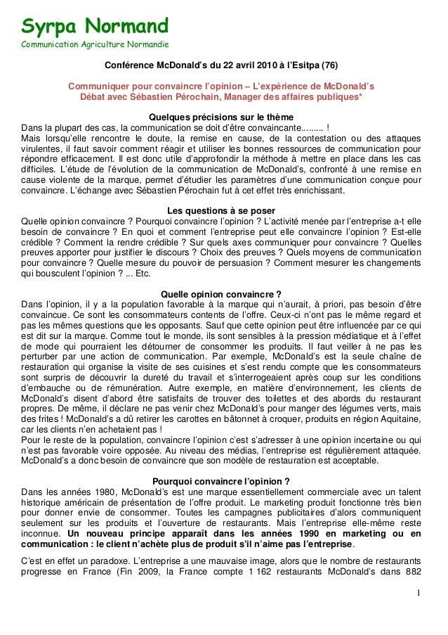 Syrpa NormandCommunication Agriculture Normandie                     Conférence McDonald's du 22 avril 2010 à l'Esitpa (76...