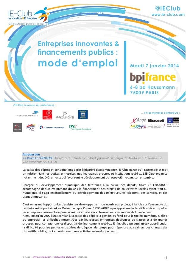 """Compte-rendu événement """"Entreprises innovantes et financements publics : mode d'emploi"""" du 7 janvier 2014"""