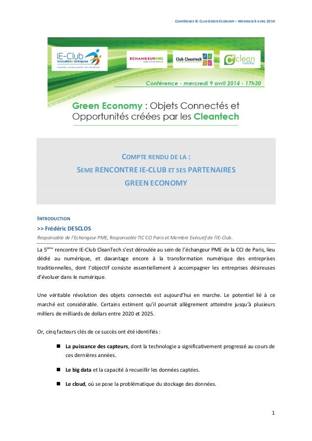CONFÉRENCE  IE-‐CLUB  GREEN  ECONOMY  –  MERCREDI  9  AVRIL  2014      1            COMPTE  ...