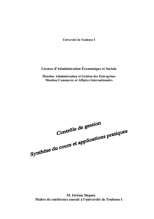 Université de Toulouse I Licence d'Administration Économique et Sociale Mention Administration et Gestion des Entreprises ...