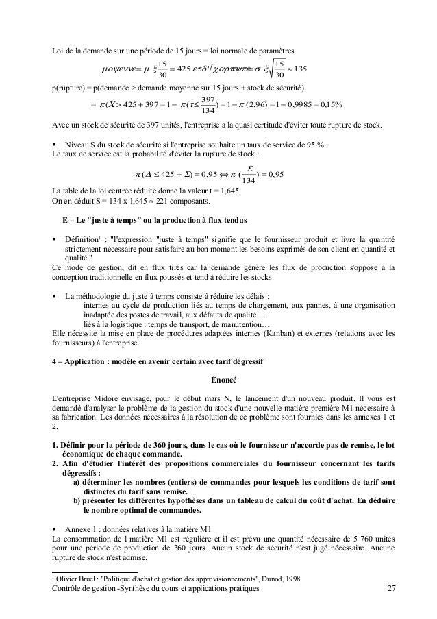 Synthese cours controle de gestion - Table de la loi normale centree reduite ...