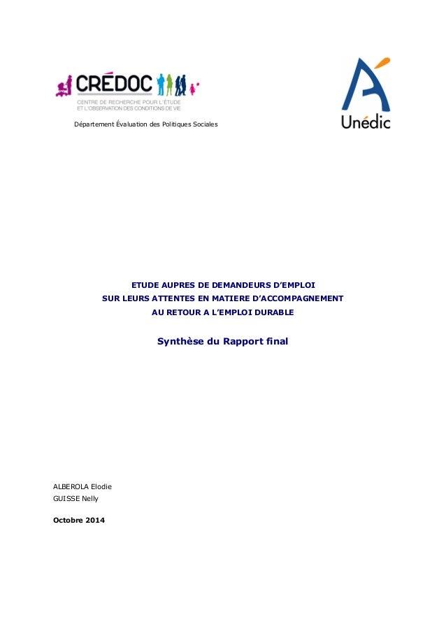 Département Évaluation des Politiques Sociales       ETUDE AUPRES DE DEMANDEURS D'EMPLOI SUR LEURS ATTENTES EN MATIERE...