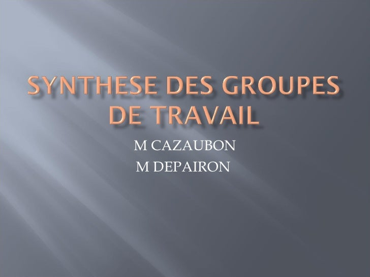 M CAZAUBON M DEPAIRON