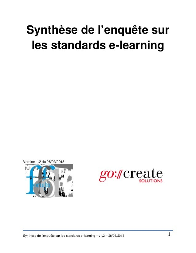 Synthese de l'enquête sur les standards e-learning