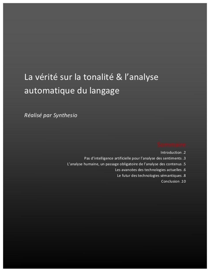 La vérité sur la tonalité & l'analyse automatique du langage                   ...