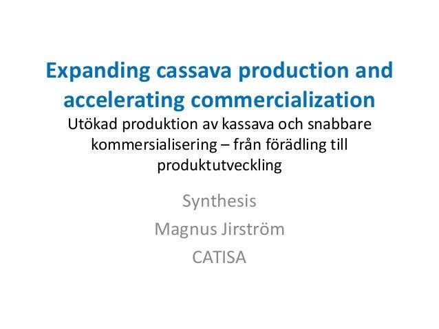 Expanding cassava production and accelerating commercialization Utökad produktion av kassava och snabbare kommersialiserin...