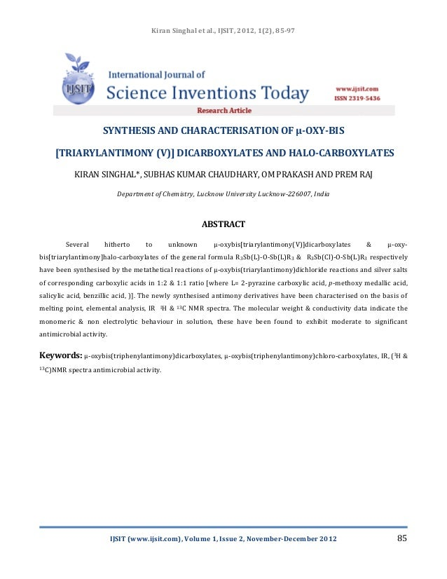 SYNTHESIS AND CHARACTERISATION OF µ-OXY-BIS [TRIARYLANTIMONY (V)] DICARBOXYLATES AND HALO-CARBOXYLATES