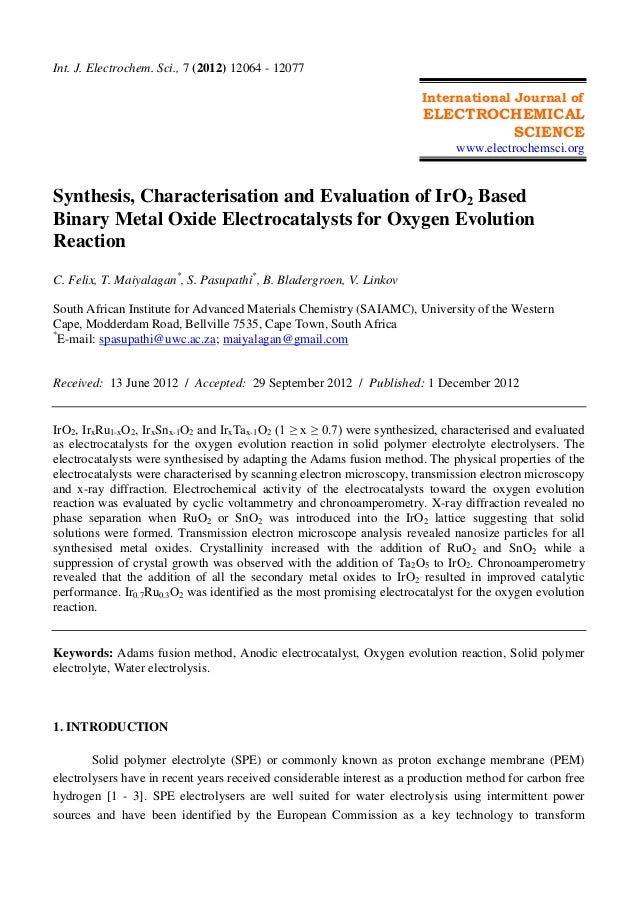 Synthesis, characterisation and evaluation of ir o2 based binary metal oxide electrocatalysts for oxygen evolution reaction