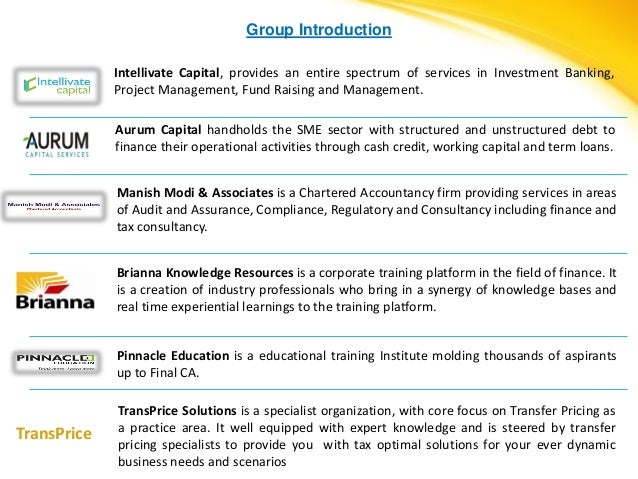Group Introduction             Intellivate Capital, provides an entire spectrum of services in Investment Banking,        ...