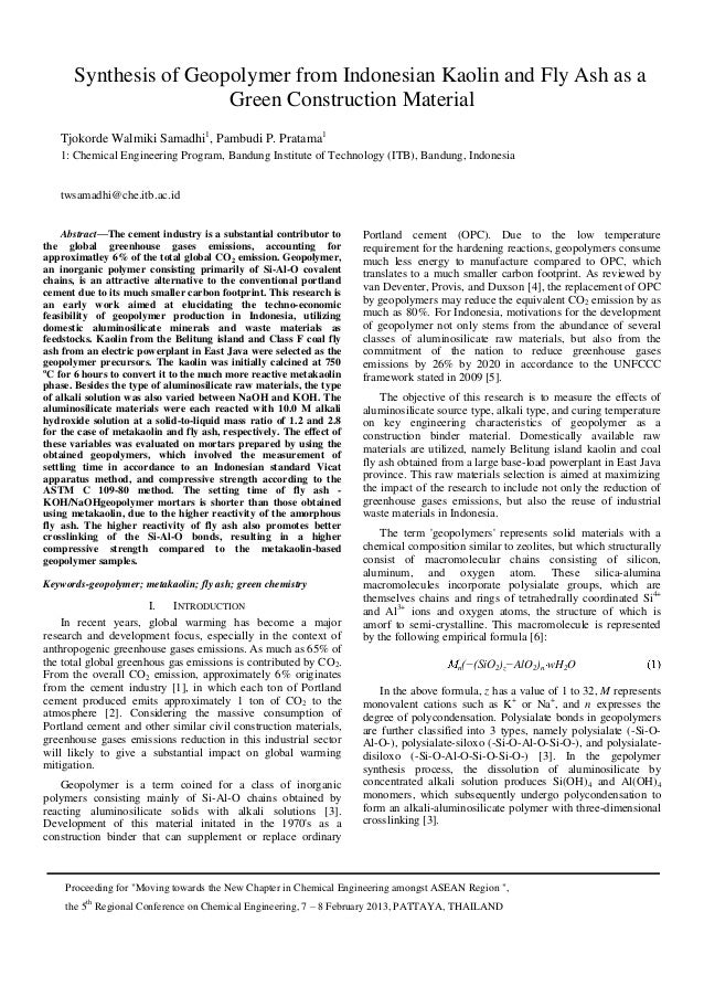 Synthesis of geopolymer from indonesian kaolin and fly ash as a green construction material