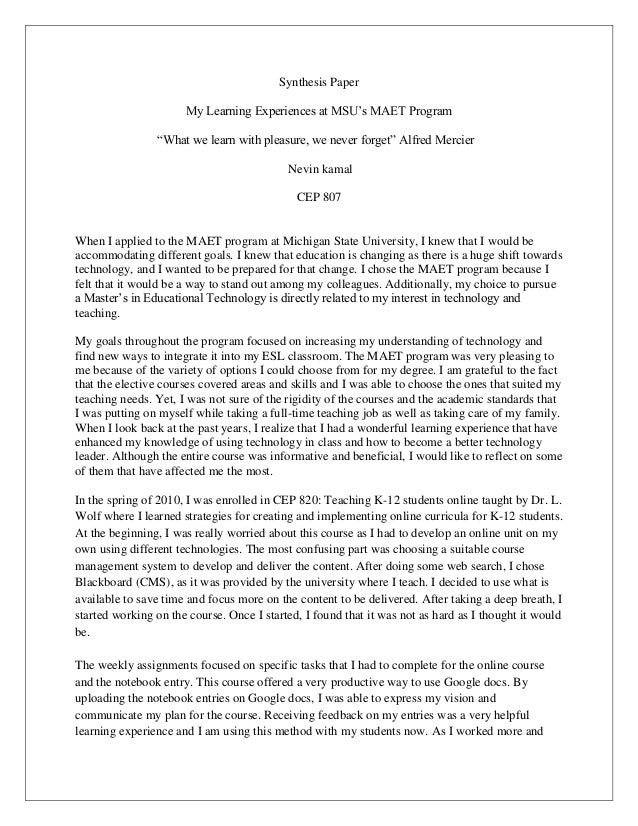 What do you learn from writing a synthesis essay