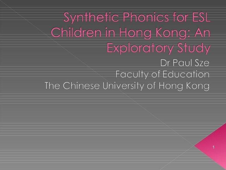 Synthetic Phonics for ESL Children in Hong Kong