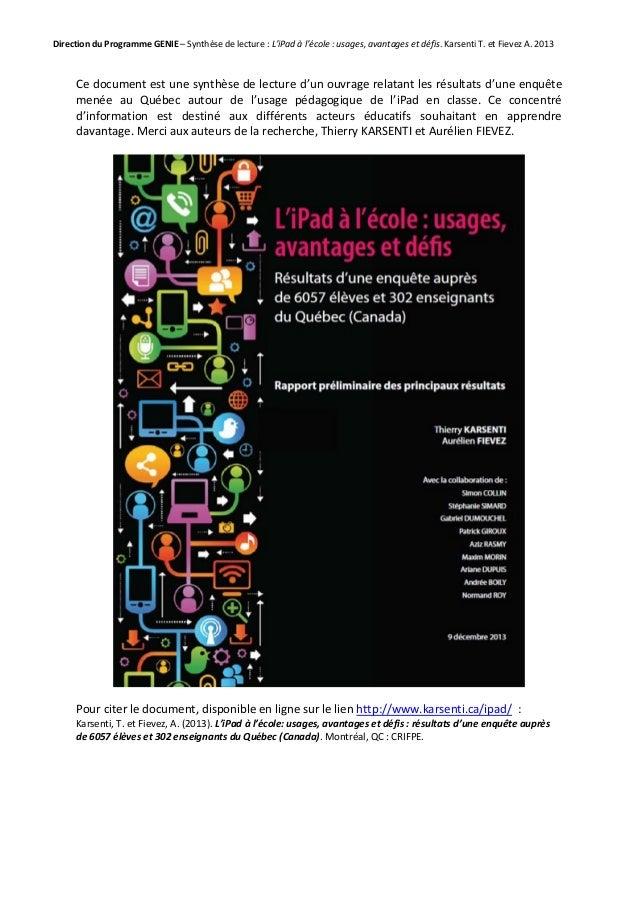 Direction du Programme GENIE – Synthèse de lecture : L'iPad à l'école : usages, avantages et défis. Karsenti T. et Fievez ...