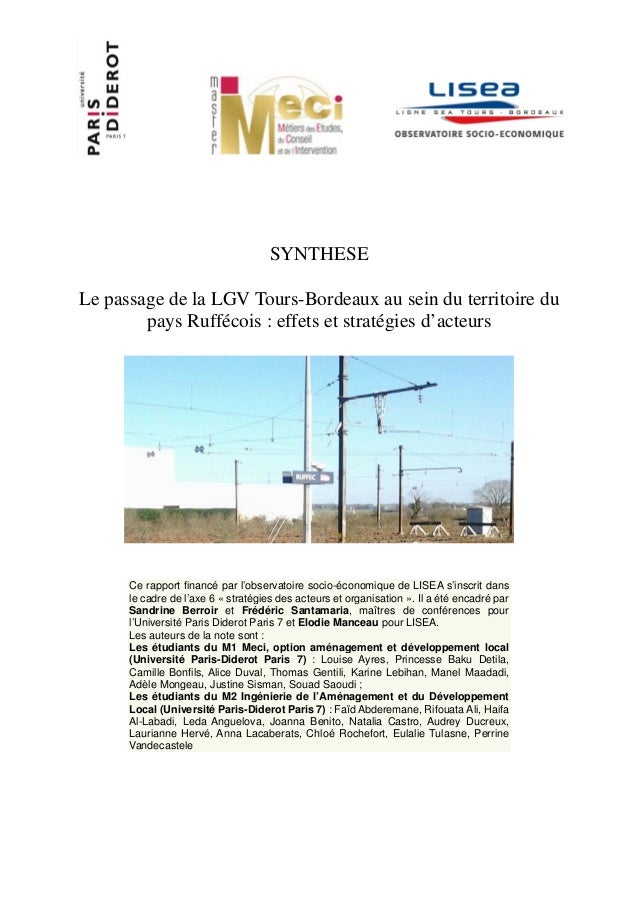SYNTHESE Le passage de la LGV Tours-Bordeaux au sein du territoire du pays Ruffécois : effets et stratégies d'acteurs Ce r...