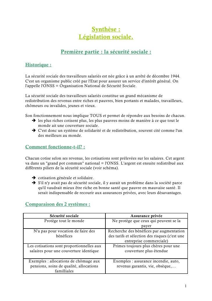 Législation sociale - 1ère partie : sécurité sociale (synthèse)