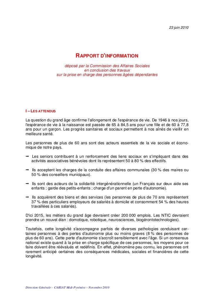 Dépendance : Synthèse Rapport d'information CAS JUIN 2010