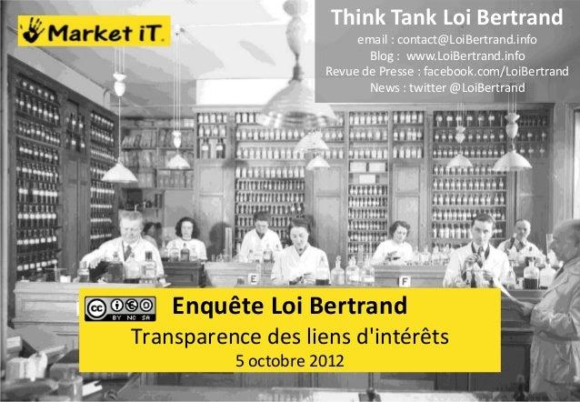 Think Tank Loi Bertrand                          email : contact@LoiBertrand.info                            Blog : www.Lo...