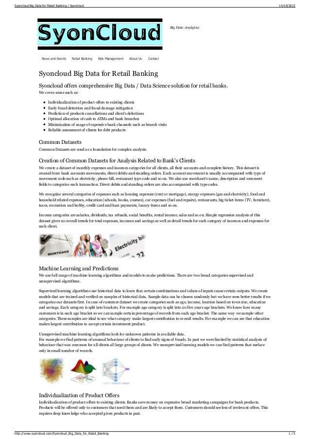 Syoncloud big data for retail banking,  Syoncloud